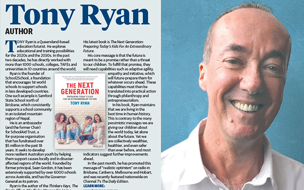 Tony's full-page article in the Courier-Mail about 'The Next Generation'